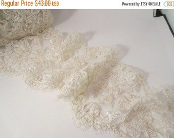 "ON SALE Ivory Delicate Beaded French Alencon Lace Trim 7"" Wide--One Yard"