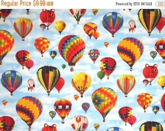ON SALE Colorful Hot Air Balloons on Sky Print Pure Cotton Fabric--By the Yard