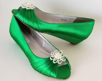 Kelly Green Wedding Shoes with Crystal and Pearl Flower Kelly Green Bridal Shoes - 100 Color Choices - Kelly Green Wedges