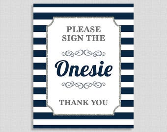 Please Sign the Onesie Baby Shower Sign, Navy & White Stripe Baby Shower Sign, Silver Glitter, 2 Sizes, DIY Printable, INSTANT DOWNLOAD