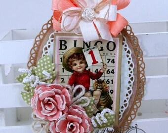 New Years Bingo Tag Polly's Paper Studio Holiday Home Decor Handmade