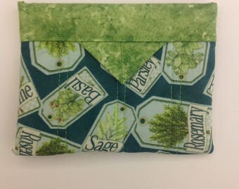 """Herbs Quilted Fabric Mini Snap Bag Purse Pouch 5-1/4"""" x 4-1/4"""""""