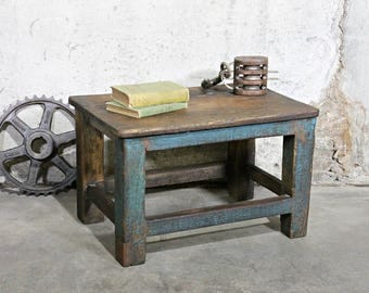 Industrial Factory Table Vintage Distressed Blue Work Bench End Table Plant  Stand