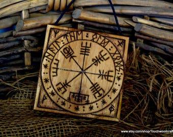 Viking Compass Plaque, Vegvisir, Viking decor, Norse home, OOAK, LARP, Norse, Asatru, Altar, Viking gift, old gods, protection,  , Runes,