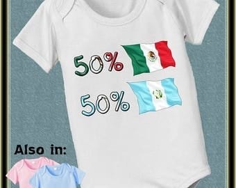 FLASH SALE Custom 50 Mexico 50 Guatamala bodysuit baby infant country flag proud to be nationality family heritage long and short sle