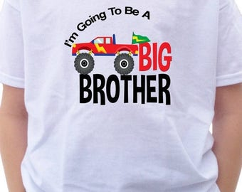 FLASH SALE 4x4 Big Brother Shirt - I'm going to be a Big Brother T-Shirt or Bodysuit - Red Monster Truck shirt - 4x4 shirt Monster truck tsh