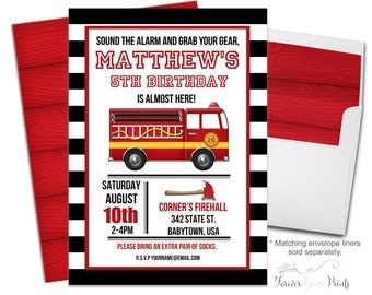 Fire Truck Birthday Invitation, Fireman Birthday Invitation, Firefighter Invitation, Fire Truck Party, Fireman Party, Firefighter Party