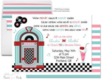 Sock Hop Birthday Invitation Printable or Printed, Sock Hop Invitation, Sock Hop Party, 50's Birthday Invitation, Fabulous Fifties Invite