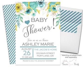 Baby Shower Invitation - Baby Girl Shower - Girls Baby Shower - Greenery Baby Shower - Floral Shower Invite - Brunch For Baby - Neutral