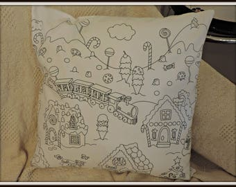 Color It Pillow, Color it holiday pillow, color me holiday fabric, coloring book pillow, coloring fabric pillow, holiday coloring fabric
