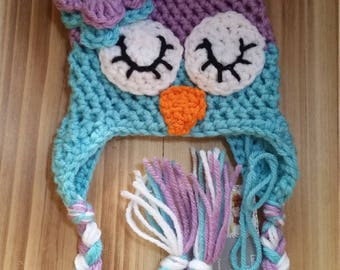 Sleepy Eye Owl Hat- made to order, new baby, bringing baby home, lulus little shop, photo prop, lnk44