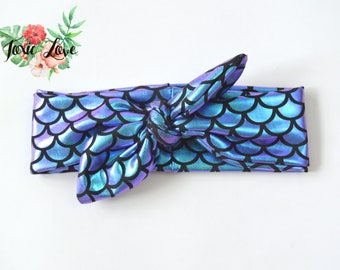 Mermaid Scale Knot Headband (Sizes Newborn - Adult) baby headwrap, mermaid birthday party outfit, mermaid top knot headband, fish scale bow