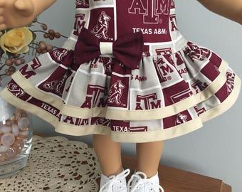 American Girl Doll Clothes - Texas A&M Drop Waist Dress