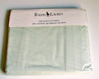Ralph Lauren Sheet Twin Flat Light Green in Package New Old Stock Vintage