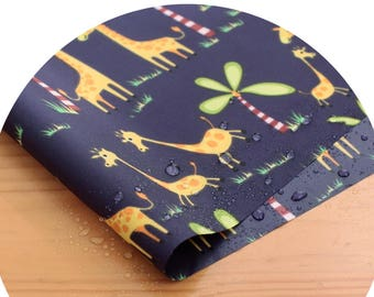 Wide Dual Waterproof Polyester Fabric By the yard  'Giraffes ' (width 59 inches) 90338