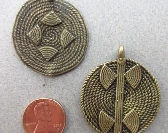 African Brass Pendants -2 Pendants
