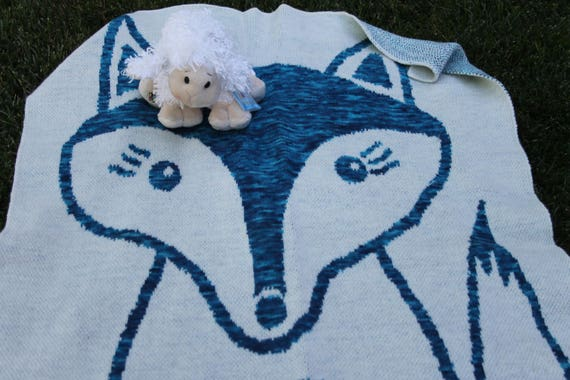 Baby Blanket or Lap Throw - Fox Design - Merino/Silk Spun in the USA by Spinderellas Creations - Hand dyed Homespun Yarns- Nursery- Kids