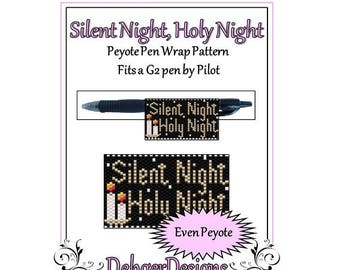 Peyote Beading Pattern (Pen Wrap/Cover)-Silent Night, Holy Night