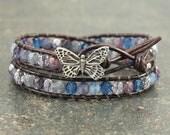 Butterfly Bracelet Blue Lavender Purple Butterfly Jewelry Unique Colorful Bohemian Double Leather Wrap Bracelet