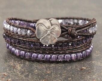 Silver Lavender Purple Pansy Bracelet Unique Shabby Boho Chic Pansy Jewelry