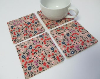 Set Of 4 Fabric Coasters/Flowers On Pinkbeige