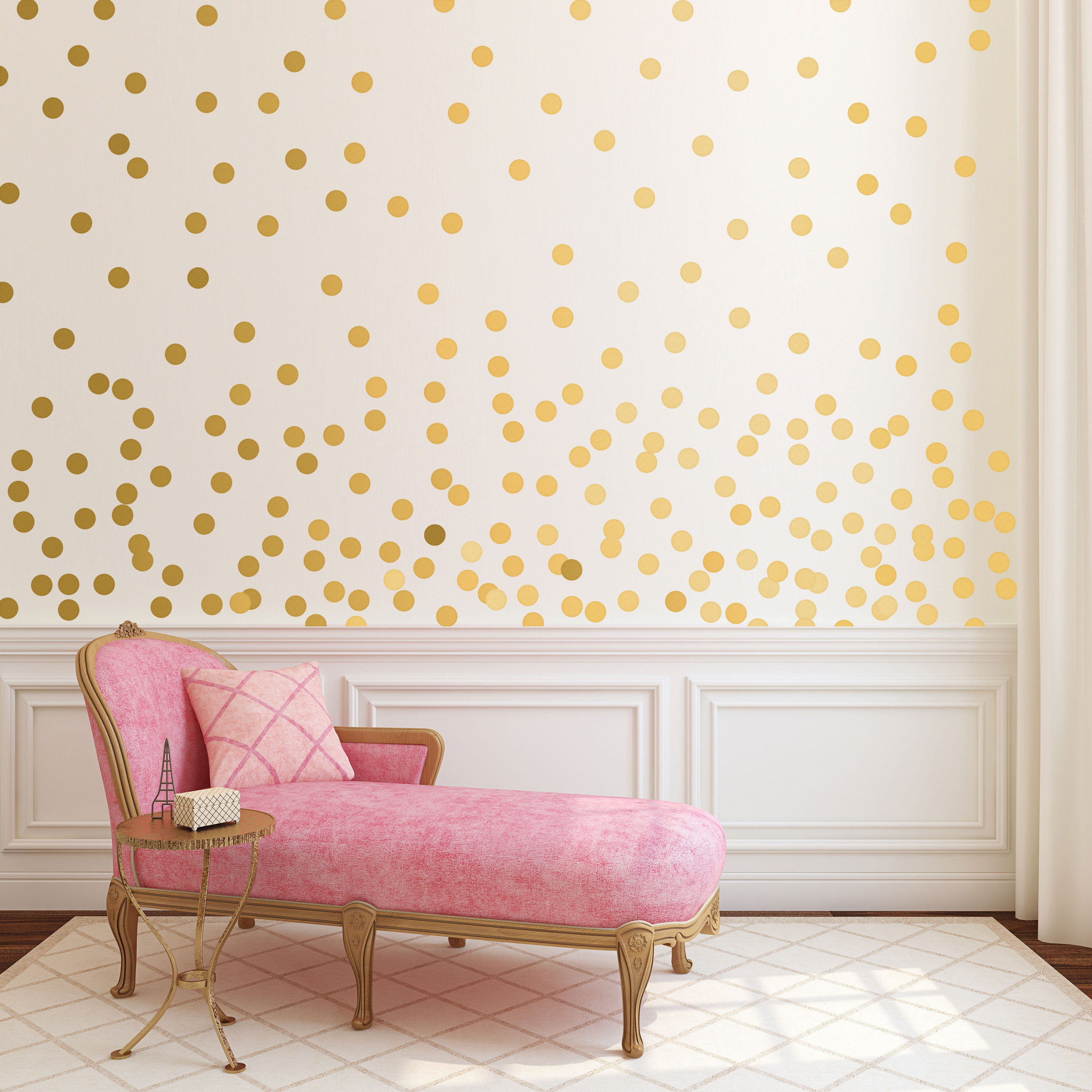 Gold dot wall decals metallic gold polka dots gold wall description easy peel and stick polka dots decals amipublicfo Images