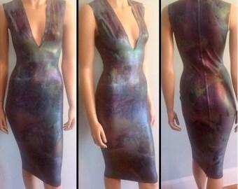Rubber Latex Oil Slick Midi Pencil Dress
