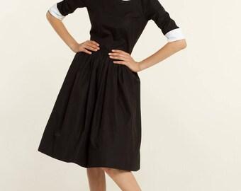 LBD Black and white dress Little black dress Dress with collar 1950s dress black 50s dress black and white Full skirt dress Plus size dress