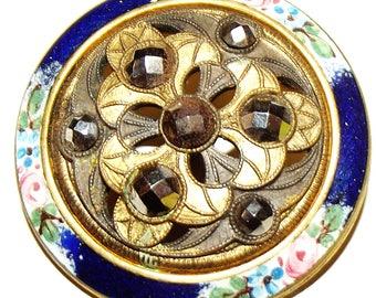 Antique Button ~ Large Floral Enamel Button w/ Border Cut Steel Center Gorgeous