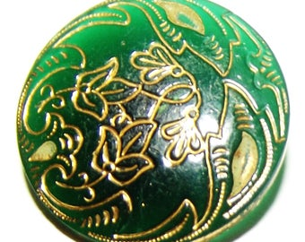 Antique Button ~ Kelly Green Glass Button ~ Victorian Button with Floral Line design