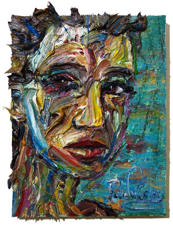 Oil Paint on Stretched Canvas of 14 by 14 by 3/4 in. / Original oil painting  vintage art abstract impressionist portrait signed modern
