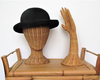 Vintage wicker woven hand display/ mid century hand display/ jewelry display