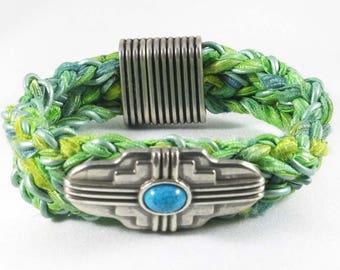 Southwester braided leather bracelet with fiber