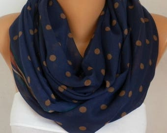 Dark Blue&Beige Polkadot Cotton Scarf,Soft,Christmas,Birthday Gift,Cowl, Oversized Gift For Her, Women Fashion Accessories
