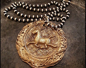 Wax Seal jewelry Horse Bronze Necklace, Oversized Reclaimed Bronze Equestrian Pendant. Reversible Gift for Horse Lover, Equine, Horse Gift