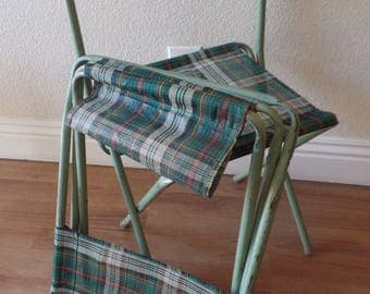 Vintage green metal folding Camping Chairs