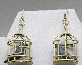 Handmade Earrings Crow in a Cage Ceramic Crow Brass Cage 30mm The Caged Bird Earrings by Oscarcrow