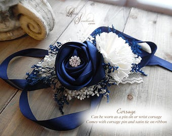 Ships in 5 days ~~~ Navy Blue Satin and Sola Flower Corsage. Can be worn as a Pin On or Wrist Corsage.