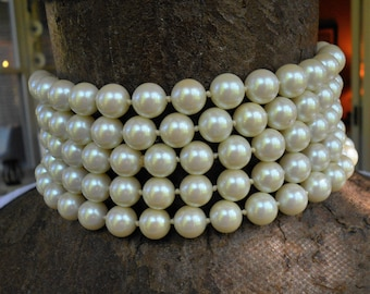 Vintage long pearl necklace 10mm glass pearl hand knotted Carolee 72 inches flapper length 1980s necklace very chic
