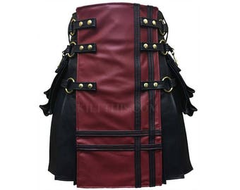 Interchangeable Black and Red Leather Double Cross Kilt Inside Pockets and Large Expanding Cargo Pockets Leather Strap Custom Fit Adjustable