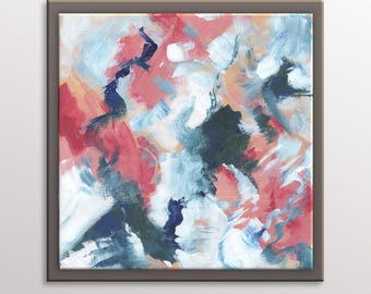 Abstract Painting - Small Original Wall Art - 12 by 12 Modern Art - Contemporary Abstract Artwork on Canvas - Expressionist Painting
