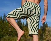 Crochet Shorts Christmas Green and White