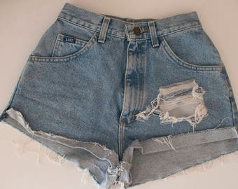 vintage high waisted hand shredded cut off jean shorts, size 6