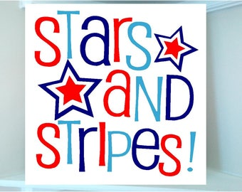 America fourth of July 4th wooden board sign with Vinyl lettering Stars and Stripes design