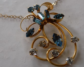 Vintage pendant, marked Rainbow gold filled blue crystal pendant with chain,elegant jewelry