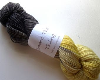 Hand Dyed Sock Yarn Lemon and Charcoal Blue Faced Leicester BFL Superwash Wool and Nylon - Ombre Hombre