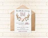 Antler Deer Child's Birthday Party Invitation - Printable