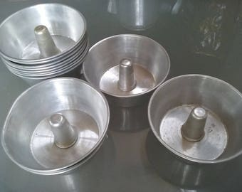 Aluminum Miniature Bundt Cake Pans, Vintage Kitchen, Baking, Tiny Cakes, Individual Servings, Set of Twelve Little Baking Pans, Jello Molds