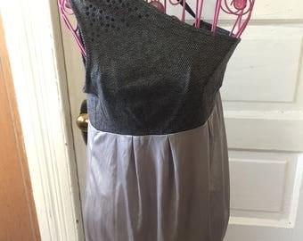 silver one shoulder 1990's short dress