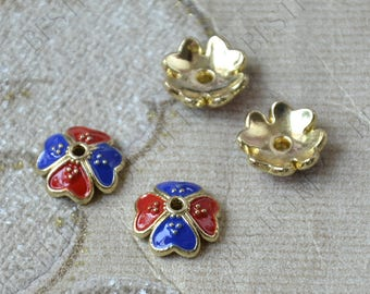 6 pcs of 12mm Enamel Golden metal heart flower bead cups,beadcap findings,beads,findings beads